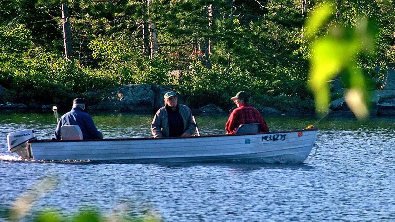 maine lake boat fishing